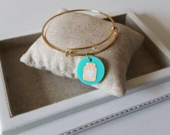 Mason Jar Acrylic Charm Bangle (Gold-Tone)//Adjustable Wire Bangle//Stackable Bangle//Acrylic Disc//Glitter Mason Jar//Southern Gift