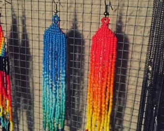 Blue fade beaded earrings