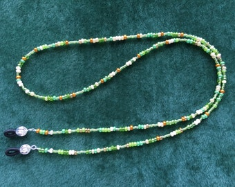 Spring Green Beaded Eyeglass Holder Necklace