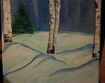 Winter snowy birch trees canvas painting