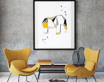 Origami Elephant print - Personalized - gold color-decoration - living room - bedroom