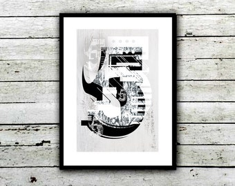 Number 5 Poster, Typography Poster, Typography Art, Wall Art, Modern Type, Wood Grain, Grunge Type, Geometric Type Poster, Black and white