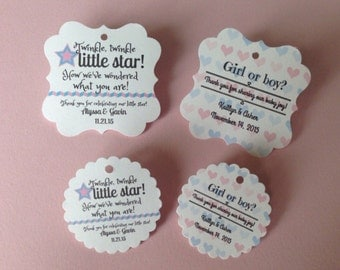 Gender reveal party favor tags, thank you favor tags, baby shower favor