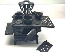 Antique Toy Size Cast Iron Stove with Accessories and Pots. Crescent Stove Salesman Sample. USA