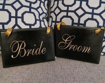 Wedding Chair Signs - Bride and Groom Chair Signs - Chair Signs -
