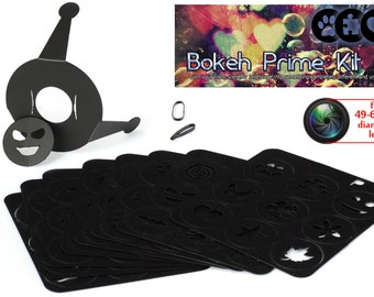 Bokeh Special Effects System Prime Kit, 72 shapes universal holder. 49-62mm lens