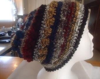 Handmade crocheted multi colored hat