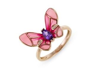 Amethyst 14k GOLD enamel batterfly ring, amethyst diamond batterfly ring, jewelry unique ring