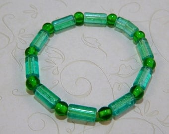 Blue and Green Beaded Stretch Bracelet, 7 inches