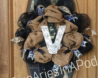 Burlap Black Deco Mesh Wreath