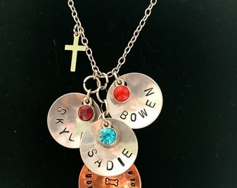 Personalized Hand Stamped Mother's Necklace