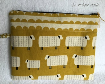 Zippered Japanese linen and cotton Mustard Sheep pouch with pocket