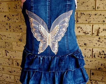 Strapless Denim Dress with Tiered Skirt size 12