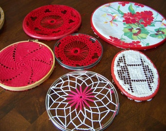 Lot of 6 Red Doilies in Embroidery Hoops