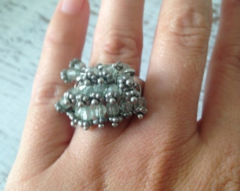 Vintage ring, cluster bead ring, silver ring