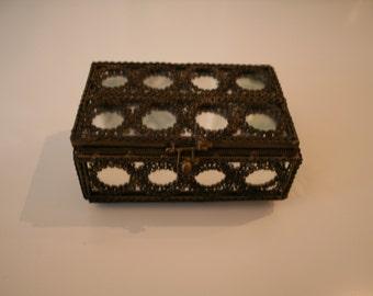 vintage brass and mirror box
