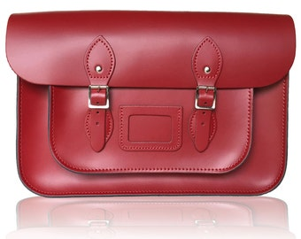 """14"""" Classic Leather Satchel 100% Real Leather - Red"""
