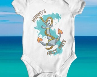 Mummy's First Mate anchor baby bodysuit | nautical baby | baby shower gift | cute baby clothes | newborn baby clothes | funny baby bodysuit
