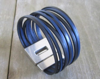 Man/woman genuine leather Cuff Bracelet, black and blue jeans. 30MM magnetic silver plated clasp.