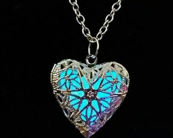 Glow in the dark Necklace Glow Heart Pendant - Glowing Heart Shaped Locket Containing Glow Pendant