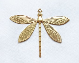 1 Large Raw Brass Dragonfly Pendant 1 Ring