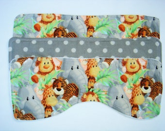 Burp Cloths ~Jungle Print and Dolka Dots~ set of 3 ~ 15 X 7 in