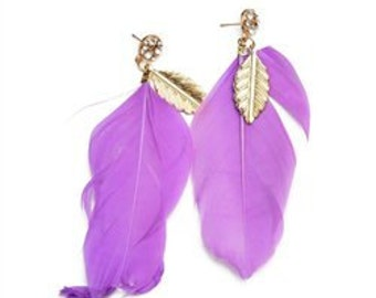 Feather Drop Stone Earrings-ready to ship!