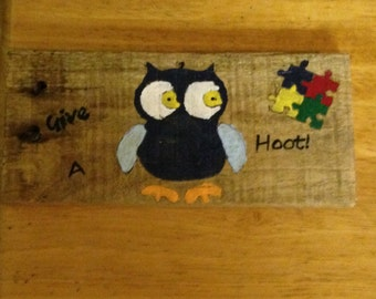 Give A Hoot About Autism Sign