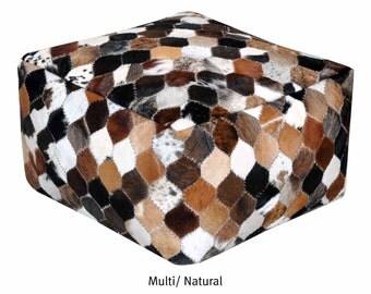 Hand Made Without Filler Multi Color & Natural Hide Masai Pouf (55cm x 55cm x 35cm),1 Piece