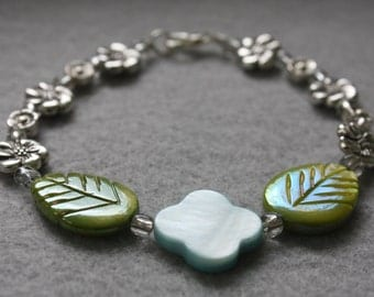 Pale Blue Flower and Green Leaf Bracelet