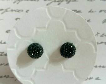 Black Multi Faceted Rhinestone Studs- Surgical Steel Posts