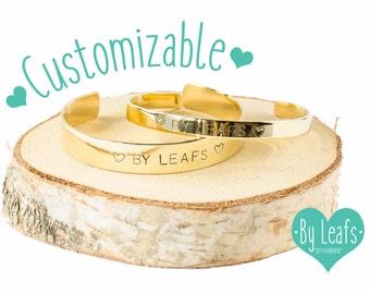 Personalized bracelet - Hand stamped bracelet - Custom bracelet - Custom cuff bracelet - Bracelet with own text - Gold color