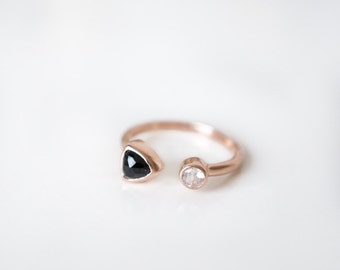 Duo Open Ring with black spinel and white topaz, sterling silver, gold, rose gold, gemstones