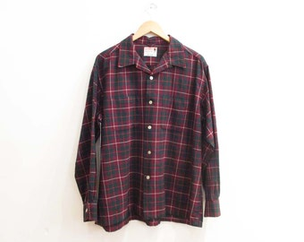 Vintage 1950s Shirt | Green and Red Plaid 1950s Button Down Shirt | size large