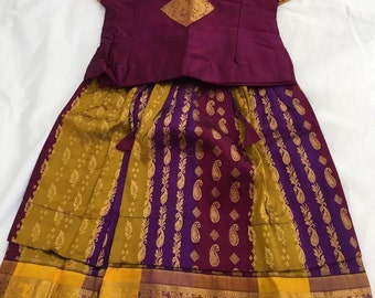 Indian Ethnic Baby Pattu/silk pavadai/lehanga choli-3months