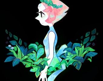 Pearl with leaves Mini Print