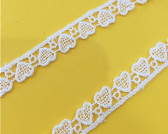 """20 yard 1cm 0.39"""" wide ivory heart fabric cotton embroidery tapes lace trim ribbon 1fh4 free ship"""