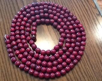 Vintage dark red wooden beads