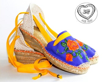 High wedge Espadrilles embroidered