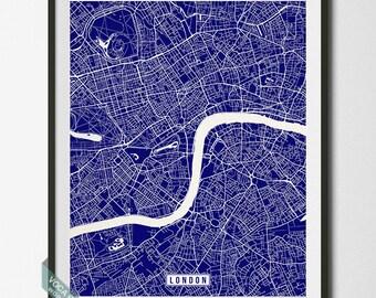 London Map, London Print, England Poster, London Poster, England Print, England Map, United Kingdom, Street Map, Christmas Gift