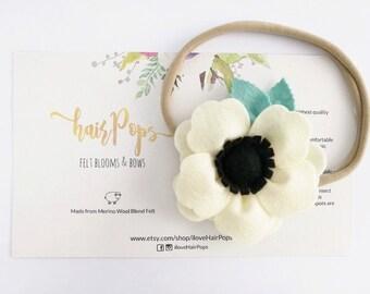 Cream White Big Anemone Flower Headband | Baby Kids Headband Hair Accessories | Soft Nylon Headband