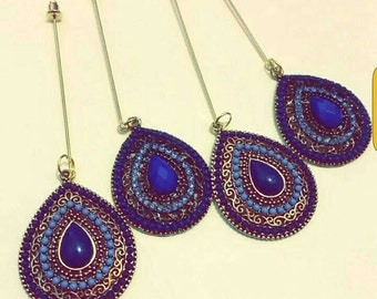 Royal blue dangle pin hijab pin hat pins brooch.