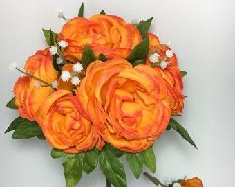 Bride & Groom Tangerine Peony Bouquet/Boutonnière