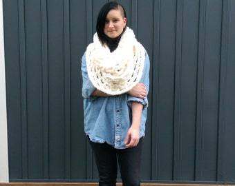 white fluffy over sized cowl