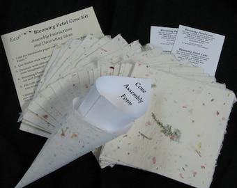 Set of 20 Rose Petal Cones.DIY Eco-friendly Blooming Cones.Handmade Paper. Wedding Cones. Flower Cones. Flower Confetti. DIY cones. USA