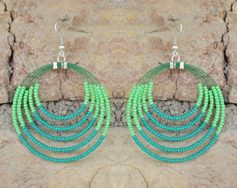 Handmade Green Beaded Hoop Earrings/Hoops