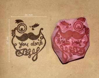 Moustached You Don't Say handcrafted rubber stamps