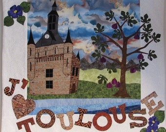 J'aime  Toulouse tenture murale patchwork  -  (I love) Toulouse quilted wall hanging