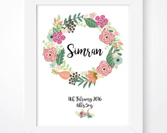 Personalised nursery name print, baby girl name print, floral name print, baby nursery name print, nursery decor print, birth stats print