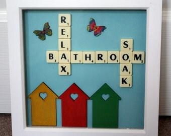 Beach Hut Frame, Scrabble Art, Seaside Theme, Bathroom Decor, Gift For  Family